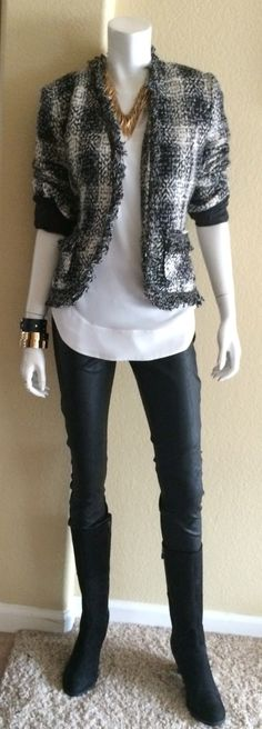 Daily Look: CAbi Fall '14 Stevie Legging, Allure Blouse, Best in Show Jacket and Hardware Bangles with a badass gold necklace and Fry boots.