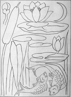 Designs for German applique. All the designs shown here for the bulrushes, gold fish, water lilies, and moon, can be cut out separately and ...