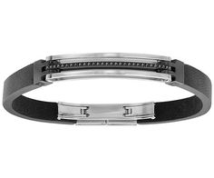 With a minimalistic and industrial spirit, this on-trend black leather bracelet for men features black crystals and mixed metal elements. The... Shop now
