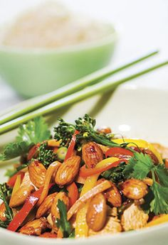 Almond Chicken & Vegetable Stir-Fry. A light, tasty and colourful stir fry that even the kids will eat