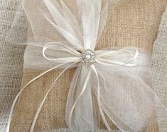 Rustic Wedding Ring Bearer Pillow Holder Forest Country Fall Winter