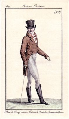 French Gentleman's Day Wear, 1809 Note the braid detail on the pantaloons
