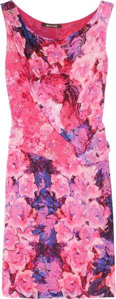 ROBERTO CAVALLI Pink Floralprint Silk Georgette Dress - Lyst