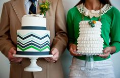 Cake with Chevron Pattern