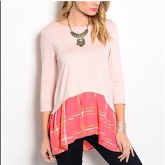 Last one! Coral ruffle hem blouse! Adorable! Pretty split hem ruffle hem blouse- Tops Blouses