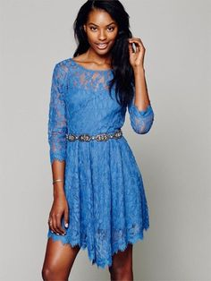 Floral Mesh Summer Style Boho People hippie embroidery Sheer lace dresses Bottom hem is trimmed with scalloped lace