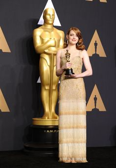 Emma Stone When: 2017 For: La La Land Comments: And in what might be the Oscar-iest cosplay yet, she dresses up in Givenchy couture, the fringe on which would make you weep.
