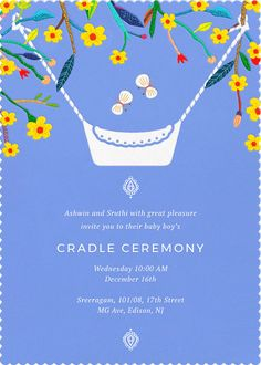 Butterflies under a natural, green canopy, hover above an uyyala in this Cradle Function Invitation. Baby Invitations, Custom Invitations, Invitation Cards, Invites, Naming Ceremony Decoration, Ceremony Decorations, Simple Birthday Decorations, Baby Shower Decorations, Cradle Decoration