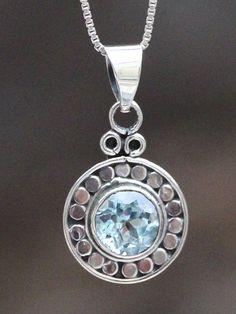 613028543250 Gemstone Pendant - Blue Topaz Handwork