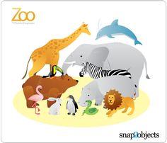 12 Zoo Animal Vectors Free Vector