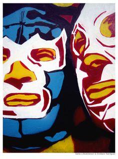 blue demon y El Santo. Mexican Graphic Design, Mexican Designs, Mexican Mask, Mexican Tattoo, Blue Demon, Ephemeral Art, Catch, Mexico Art, Chicano Art