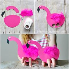 This darling playful flamingo kids craft is super simple to make and is great for the kids to play with after making it. Kids Crafts, Summer Crafts For Kids, Toddler Crafts, Diy For Kids, Summer Kids, School Age Activities, Infant Activities, Activities For Kids, Flamingo Craft