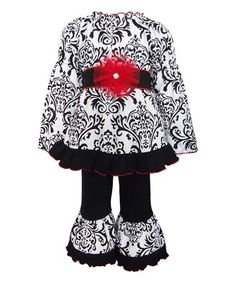 http://www.zulily.com/invite/kripley070 This Black & White Dandi Tunic & Ruffle Pants - Infant, Kids & Tween is perfect! #zulilyfinds