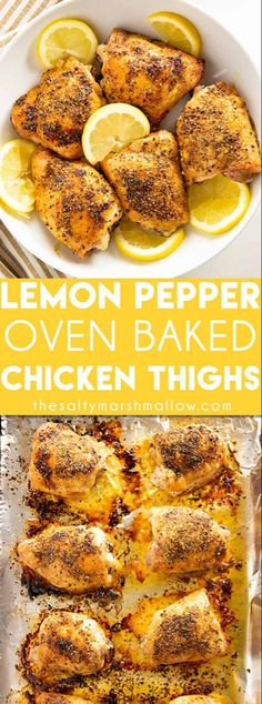 Lemon Pepper Baked Chicken Thighs are easy to make and packed with delicious lemon pepper flavor! These chicken thighs come out of the oven with a crispy outside and juicy center making for a truly irresistible chicken dinner! Skin On - Bone In Thighs Easy Baked Chicken Thighs, Baked Lemon Pepper Chicken, Chicken Thighs Dinner, Juicy Baked Chicken, Crispy Oven Baked Chicken, Roasted Chicken Thighs, Baked Chicken Breast, Baked Chicken Recipes, Chicken Breasts