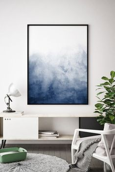 Navy Blue Watercolour Printable Indigo Artwork, Minimalist Print, Abstract Blue Wall Art, Royal Blue, Abstract Poster, Dark Blue Home Decor
