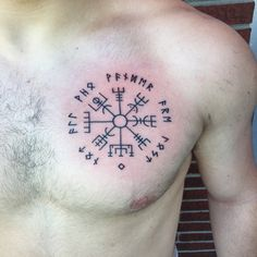 "Vegvisir tattoo - Viking compass with the surrounding runes meaning ""not all who wander are lost"""
