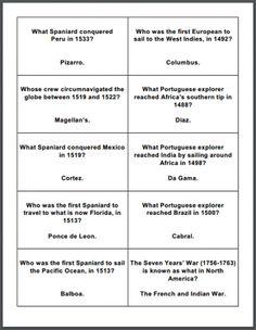 Age of Exploration Printable Flashcards - Free to print (PDF file). #worldhistoryteaching #world #history #teaching #middle #school