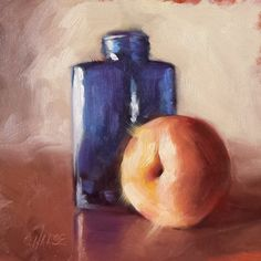 """Daily Paintworks - """"Blue Bottle"""" by Cindy Haase"""