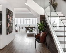 Transform your apartment from run-of-the-mill to outstanding pad with these steal-worthy HDB maisonette design ideas and tips! Flooring For Stairs, Brown Cabinets, Loft, Open Concept Kitchen, Home Decor Kitchen, Kitchen Design, Kitchen Ideas, Apartment Interior, Apartment Design