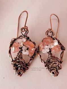 Wire Wrapped Earrings, Tree of Life, Rose Quartz and Moonstone Bonsai, Handmade, Antiqued Copper Wire Tree Jewelry, Perfectly Twisted