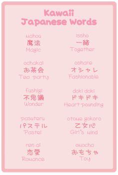 Kawaii Japanese words.