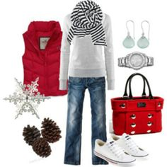 White hoodie & Red puffer outfit