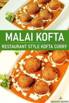 Paneer koftas in a creamy and delicious curry. Malai kofta is a popular Indian dish made with paneer, potatoes, spices and herbs. #curry #indian #paneer #malaikofta Kofta Recipe Vegetarian, Kofta Curry Recipe, Vegetarian Snacks, Malai Kofta Recipe Video, Malai Kofta Curry, Indian Food Recipes, Healthy Recipes, Indian Snacks, Indian Vegetable Recipes