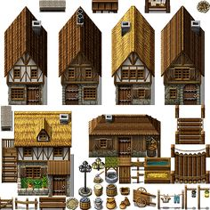 These are my 'parallax' tiles, meaning they are not in tileset format. Terms of usage: Can only be used in RPG Maker VX a… Sprites, 2d Rpg, Rpg Maker Vx, Fantasy Map Making, Exterior Tiles, Pix Art, Pixel Art Games, Dungeons And Dragons Homebrew, Game Concept