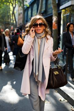 On the Street….Pink & Grey, Paris « The Sartorialist I love the colours the coat and the two tone scarf LOVE - LOVE - LOVE Soft Pale pink jacket coat with neutral grat