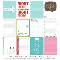 Vector Everyday Journal Cards 3 {CU} by Miss Tiina