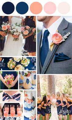 Nobleness and Eternity: Stunning Navy Blue Wedding Color Ideas - Wedding Colors Summer Wedding Colors, Coral Wedding Colors, Navy Peach Wedding, Gray Suit Wedding, Navy Spring Wedding, Peach Colors, Gray Weddings, Blue Coral Weddings, Wedding Themes