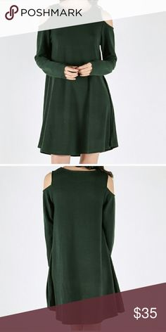"""🎉FREE SHIPPING🎉NEW Green Cold Shoulder Dress Forest Green Cold Shoulder Dress, this is Perfect for the holidays or a special event! This dress will become your  """"Go to Dress"""" The breakdown of the dress is  55% Cotton, 35% Polyester and 10% Spandex. Measurements to be added soon. Simply offer $6 less (shipping charges) Dresses Long Sleeve"""