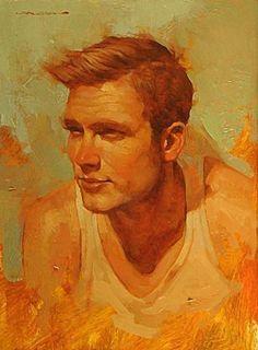 Artist: Joseph Lorusso (b. 1966), oil on panel {contemporary figurative #impressionist male head red orange man face portrait painting #loveart} josephlorussofineart.com