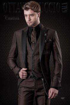 d491a70b35d ONGala 1467 - Brown peak lapel 3 piece groom suit Svadobné Šaty
