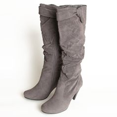 """Brooklyn Avenue Heeled Boots 58.99 at shopruche.com. Stay stylish this season with these dark gray heeled boots featuring slouched detail and a rounded toe. Finished with a side zipper closure, faux fur lining and a sleek heel. , ,  Faux suede upper ,  16"""" shaft height, 14"""" calf circumference, 3.5"""" heel ,  Slightly padded footbed"""