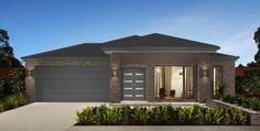 Mock up with Austral Hawthorn bricks, Colorbond Basalt roof, gutter, fascia, garage door and Monument window frames. House Exterior Color Schemes, Exterior Colors, Window Frames, New Home Designs, Facade House, Home Reno, New Builds, Colour Schemes, Building A House