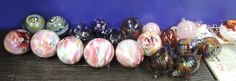 Hand blown glass ornaments done by the staff of Fireworks Glass Studios