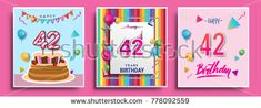 Vector Sets of 42 Years Birthday invitation, greeting card Design, with confetti and balloons, birthday cake, Colorful Vector template Elements for your Birthday Celebration Party.