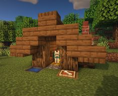 Every good boi needs a good home. Here's an easy tutorial to make a house for your dog friend. This is a great detail to add in your Minecraft worlds :) ----. Minecraft Dog House, Minecraft Houses Survival, Easy Minecraft Houses, Minecraft House Designs, Minecraft Blueprints, Minecraft Crafts, Amazing Minecraft, Minecraft Buildings, Minecraft Skins