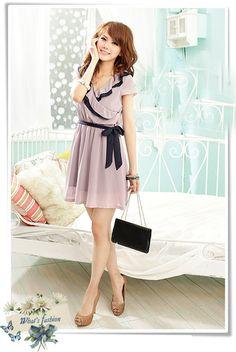 Purple Office Lady Temperament Leisure Dresses