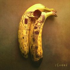 A great take on a classic painting by Gustav Klimt. Artist Stephan Brusche #InkedMagazine #banana #art #artwork #food #cool #fun #cute