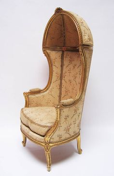 A Fine and Rare French 19th/20th Century Louis XV Style Gildwood Carved Canopy-Hooded Armchair. Circa: 1900  @ Gail Rogers: a chair to sit in whilst wearing your silver dress