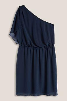 Esprit / One-shoulder-jurk van fijn chiffon
