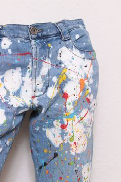 Custom Made Splatterpainted Jackson Pollock Denim Galaxy Jeans