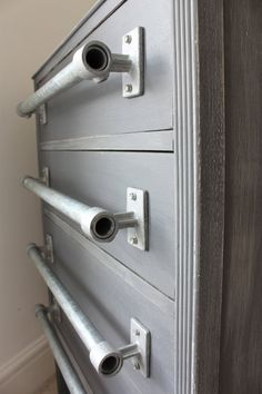 Pair of Industrial Galvanised Steel Pipe Door/Drawer Pull Handles - Bespoke Industrial Domestic Fixtures and Fittings