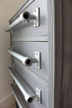 Pair of Industrial Galvanised Steel Pipe Door/Drawer Pull Handles - Bespoke Industrial Domestic Fixtures and Fittings