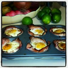 My favorite low-carb breakfast and around 100 calories each! Grease a cupcake pan with coconut oil, make a cup out of lean turkey meat, drop an egg in and season with salt and pepper. Bake for about 20 minutes at 350. Serve with fresh tomato or salsa!