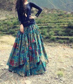 Cotton printed swing skirt