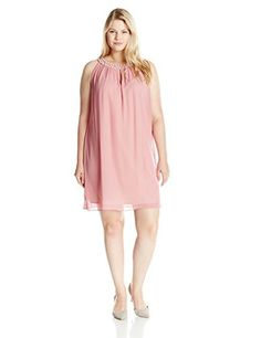S.L. Fashions Women's Plus-Size Pearl Neck A-Line Dress, Dusty Mauve, 18 - Brought to you by Avarsha.com