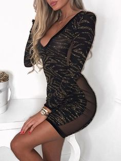 Glittering Sequins Deep V Bodycon Mini Dress Party Dresses For Women 5c3cf2931a02